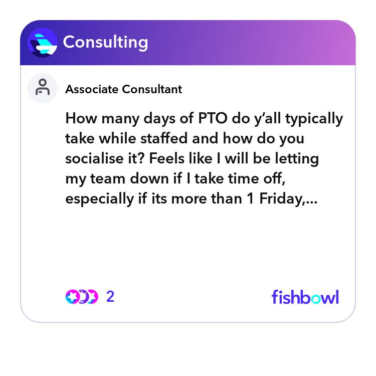 How many days of PTO do yall typically take while staffed